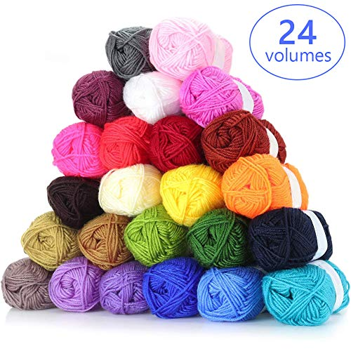 Multi-Color Crochet Yarn Set Knitting Yarn Soft Cotton Yarn, 25g Each, 525 Yards Total, Great for Mini Knitting and Crochet Projects, for Beginners, Kits, Adults