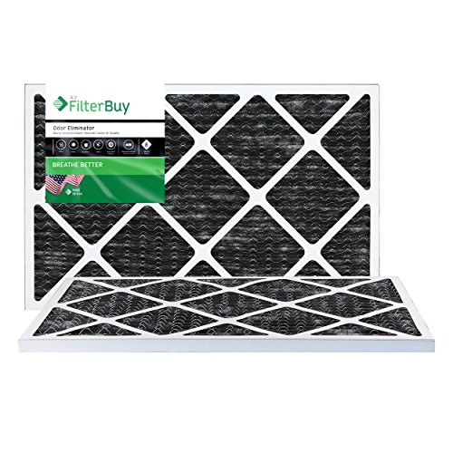 FilterBuy Allergen Odor Eliminator 20x24x1 MERV 8 Pleated AC Furnace Air Filter with Activated Carbon - Pack of 2-20x24x1