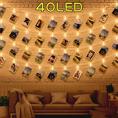 40 Luci per Foto - Lucine Led Decorative per Camere Luci Led Foto, Porta Foto Polaroid Mollette Led per Foto, Luci Decorative Interno