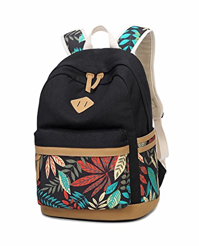 LuckyZ Women Backpack Lightweight Canvas Leather Daykpack Laptop School Bag Cute Printng Travel Shoulder Bookbags Leaf Black