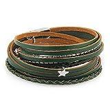 Cheerlife Leder Wickelarmband mit Stern, Strass, Ketten, Flechtelement Magnetverschluss Armband für Damen (Grün)