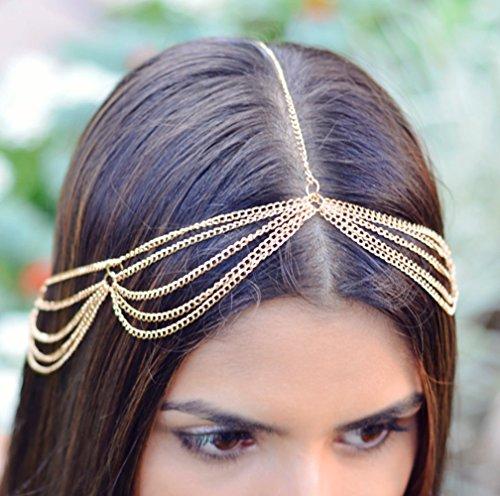 Handmadejewelrylady Lady Tassel Chaîne en métal tête Coiffe femme Mode Métal Strass Bijoux Bandeau Tête pièce Bandeau Cheveux
