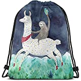 Kordelzug Rucksack New Sloth Riding Lama Gemälde 3D-Druck String Bag Sackpack Cinch Tragetaschen Geschenke für Frauen Männer Fitnessstudio Einkaufen Sport Yoga