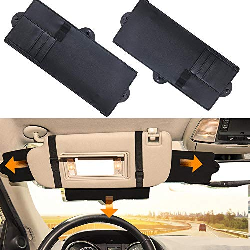 JoyTutus Car Sun Visor Sunshade Extender, 2 Pack Adjustable Car Sun Visor Extender Protects from Anti-Glare, UV Rays Blocker Window Sun Visor Windshield Sunshade Extender for Car SUV
