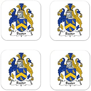 Baxter Family Crest Square Coasters Coat of Arms Coasters - Set of 4
