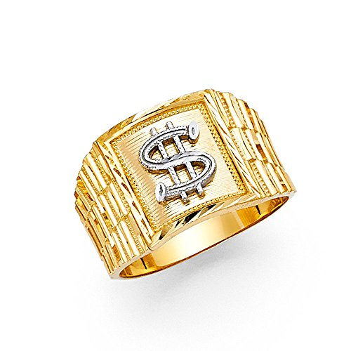 Solid 14k Yellow Gold Dollar Sign Ring Square Money Symbol Band Polished Genuine Men 14MM Size 8.5