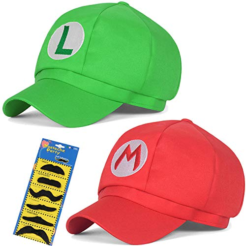 Super Mario Brothers Luigi Child Hat Costume cosplay Hat for kids 2Pc 21.25-22.04 inch(Red,Green)