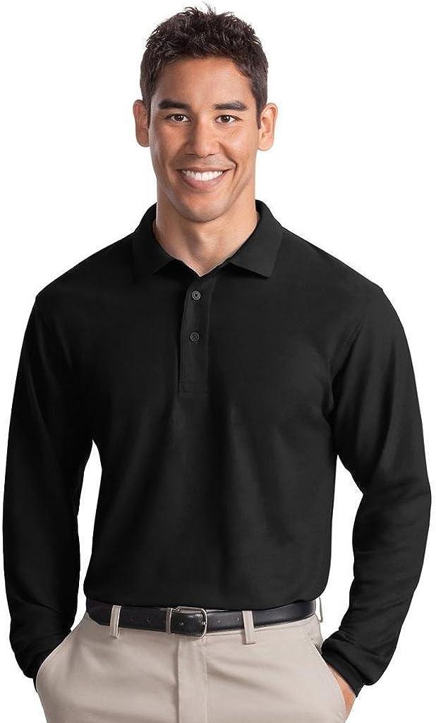 Port Authority Tall Silk Touch Long Sleeve Polo Shirt, 2XLT, Black