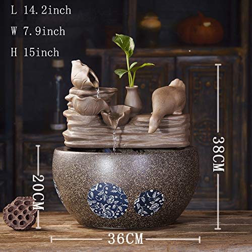 Statues Ceramic Water Fountain,Fengshui Indoor Decoration Cascading Tabletop Water Decoration Indoor Tabletop Fountains Ceramic Fountain Crafts-Duck Playing Water A 15inch