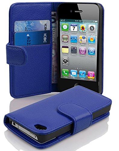 Cadorabo Hülle für Apple iPhone 4 / iPhone 4S - Hülle in KÖNIGS BLAU – Handyhülle mit Kartenfach aus struktriertem Kunstleder - Case Cover Schutzhülle Etui Tasche Book Klapp Style