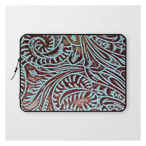 Light Blue & Brown Tooled Leather by The Ghost Town on Laptop Sleeve - Laptop Sleeve - 13'