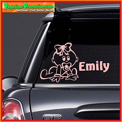 """Hochwertiger Namens Aufkleber \"""" Emily \"""" Autoaufkleber Name Aufkleber Wandtattoo Aufkleber für Glas,Lack,Tür und alle glatten Flächen, viele Farben zur Auswahl,Auto Sticker Baby an Bord, Kindername,Namensaufkleber"""
