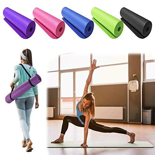 Yogamatte Rutschfest Schadstofffrei Dicke 1,5cm Gymnastikmatte Faltbar mit Tragegurt, Extradick Pilatesmatte Sportmatte aus NBR Jogamatte, 180 x 61cm - Schwarz