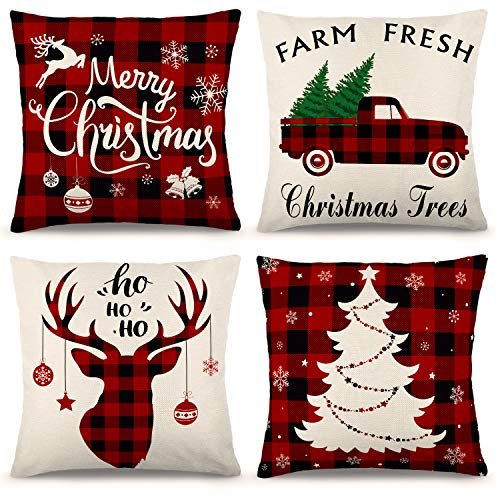 YGEOMER Christmas Pillow Covers 18×18 Inch Set of 4 Farmhouse Black and Red Buffalo Plaid Pillow Covers Holiday Rustic Linen Pillow Case for Sofa Couch Christmas Decorations Throw Pillow Covers