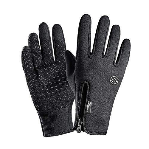 XOSS Fahrradhandschuhe wasserdicht Touchscreen Winter Outdoor Bike Handschuhe einstellbar (schwarz, M)