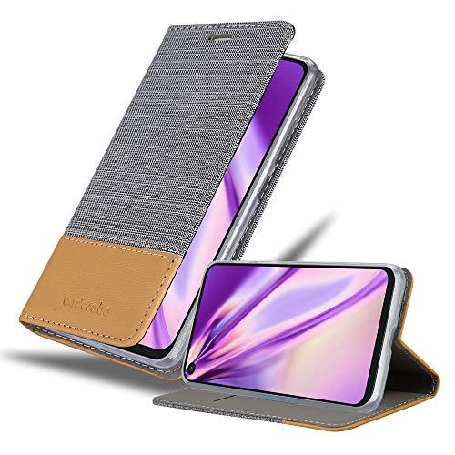 Cadorabo Hülle für Motorola ONE Action in HELL GRAU BRAUN - Handyhülle mit Magnetverschluss, Standfunktion & Kartenfach - Hülle Cover Schutzhülle Etui Tasche Book Klapp Style