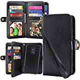 Harryshell Detachable Magnetic 12 Card Slots Wallet Case Shockproof PU Leather Flip Protective Cover Wrist Strap for LG Stylo 5, Stylo 5 Plus (Black)