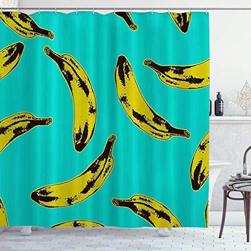 DYCBNESS Duschvorhang,Pop Art Style Pattern Bananen,Vorhang Waschbar Langhaltig Hochwertig Bad Vorhang Polyester Stoff Wasserdichtes Design,mit Haken 180x180cm