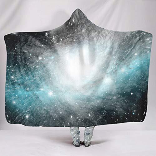 O2ECH-8 Mit Kapuze Decke Zwei Größen Thema Sofa Decke Prämie Tragen Decken Robe - Universe für Teenager White 130x150cm