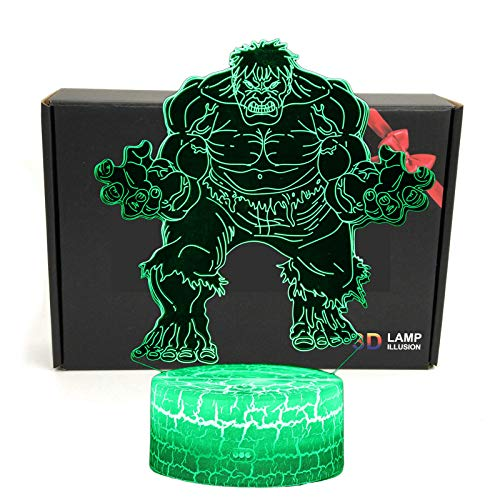 LED Superhero 3D Optical Illusion Smart 7 Colors Night Light Table Lamp with USB Power Cable (The Hulk)