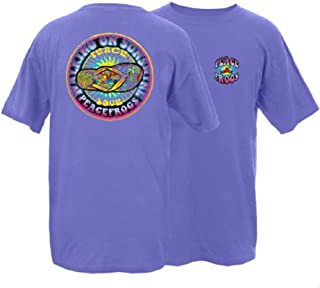 Peace Frogs Walking on Sunshine Frog Adult Unisex Short Sleeve T-Shirt (Violet, Large)