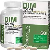 Bronson DIM Supplement 200 mg Diindolymethane with BioPerine for Enhanced Absorption, Estrogen Metabolism & Maintains Balanced Hormone Levels, 60 Vegetarian Capsules