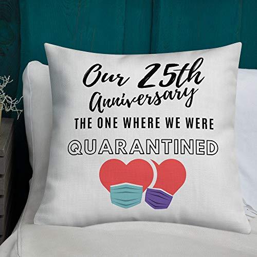 Teisyouhu Cojín para 25, 25 aniversario, regalo de 25 aniversario, almohada de 25 años, matrimonio de 25 años, regalo de boda 25, funda de almohada decorativa de 45,7 x 45,7 cm