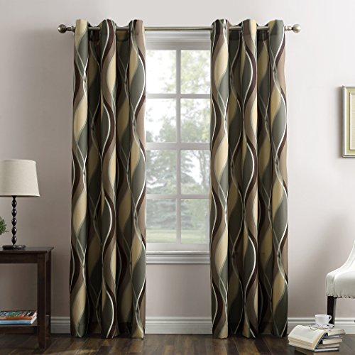 """No. 918 Intersect Wave Print Casual Textured Curtain Panel, Spruce, 48"""" x 95"""""""
