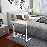 ZHOU2# Bedside Table Mobile Medical Overbed Table, Student Small Computer Desk Writing Home Office Bed Laptop Desk Sofa Side End Table Adjustable Hight with Wheels for Small Space (Yellow)