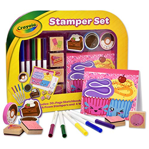 Crayola Stamp Activity Set, Mess Free Craft Kit for Toddlers and Kids, Drawing Art Supplies Included Sketch Book, 6 Color Markers, 3 Foam and 4 Wooden Stampers