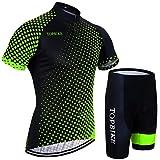 X-Labor - Maglia da ciclismo da uomo di alta qualità, taglie grandi, maglietta a maniche corte + pantaloncini con imbottitura 3D, abbigliamento da ciclismo verde, 5XL
