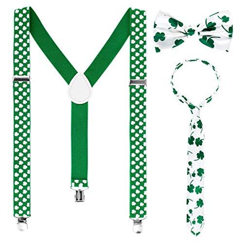 Hosenträger St. Patricks Day 3 Stücke St. Patrick's Day Träger Zubehör Set mit Shamrock Hosenträger Shamrock Schleifen und Krawatten Dekoration