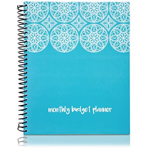Paper Junkie - Libro de presupuesto mensual, organizador de gastos con 24 bolsillos para recibos y facturas, color azul de 8 x 10 pulgadas, perfecto para el hogar, control personal de dinero