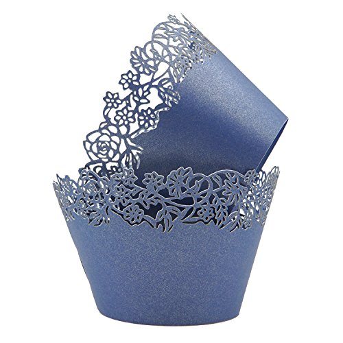 Cupcake Wrappers Pack of 50 Deep Blue Filigree Artistic Bake Cake Paper Cups Little Vine Lace Laser Cut Liner Baking Cup Muffin Case Trays for Wedding Party Birthday Decoration -By KEIVA (Deep Blue)