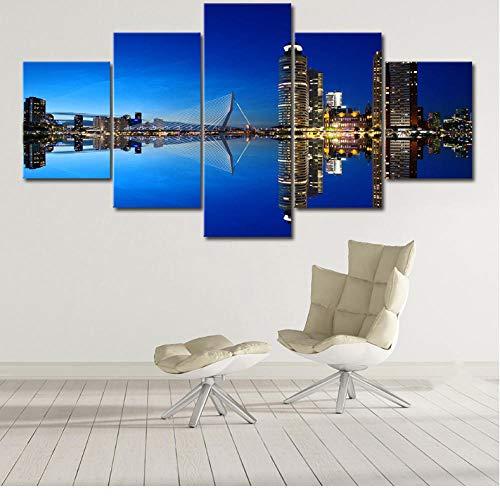 wuyii Rotterdam Holland stadsbeeld poster 5 panelen frame canvas schilderij muurkunst afbeelding afdrukken woonkamer cultuur 30 x 40 cm x 2/30 x 60 cm x 2/30 x 80 cm x 1.