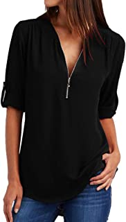 Fashion Women Casual Tops V Neck Loose Long Sleeve Blouse T-Shirt