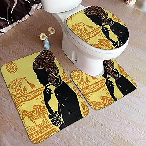 Juego de alfombrillas baño 3 piezas,África América Africana Contra Pendientes Tri,juego de alfombras, alfombra de baño antideslizante,alfombrilla de contorno,alfombras para cubrir la tapa del inodoro