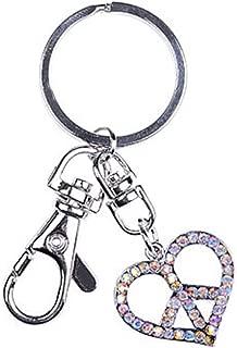 Alilang Silver Tone Aurora Borealis Colored Rhinestones Heart Shaped Peace Sign Symbol Keychain