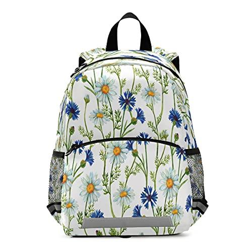 Mochila para niños con acuarela, camomilas, Kindergarten School Bag para niños pequeños y niñas