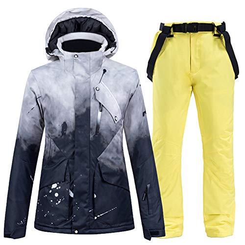 GITVIENAR Skijacke und Hosen für Damen und Herren, Wind- und wasserdichte Snowboard-Jacke und Hose Set (Schwarz+Gelb, XS)