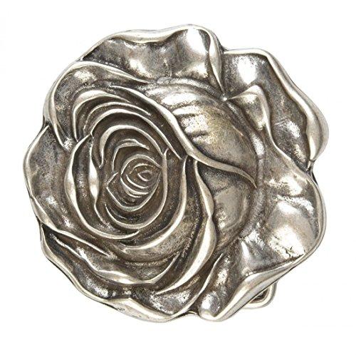 Infinite Outfits Gürtelschnalle mit Relief - Blühende Rose - Wechselschliesse in edlem Design als besonderes Geschenk