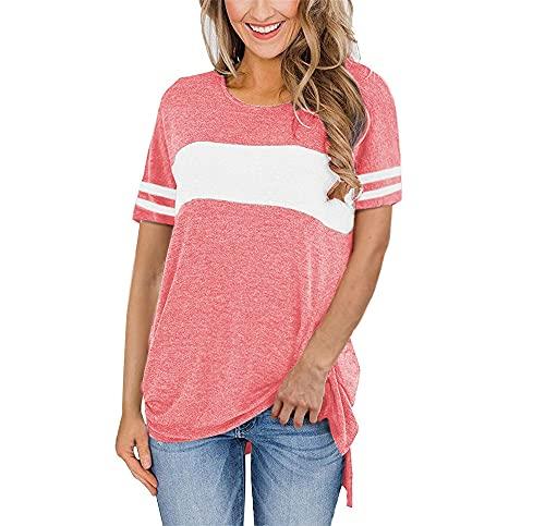 Manga Corta Mujer T-Shirts Elegante Cómodo Verano Cuello Redondo Empalme Mujer Tops Moda Dividido Dobladillo Diseño Diario Casual Transpirable All-Match Mujer Blusa D-Pink 3XL
