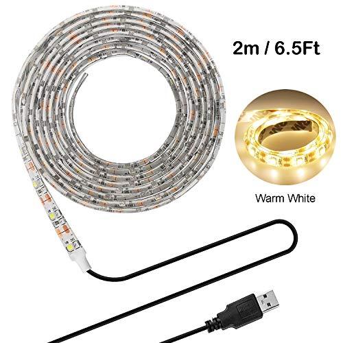 LED Beleuchtungsstreifen,USB TV Hintergrundbeleuchtung 6.56Ft/2m LED Band Licht für 40-60 Zoll HD Fernseher,wasserdichtes SMD 3528 5V warmweiß Bias Lighting,USB Bias Lighting für Heimkinos