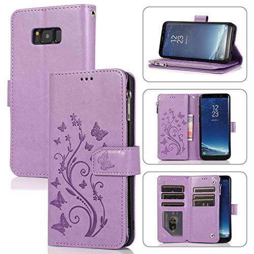 UEEBAI Handyhülle für Samsung Galaxy S8 Plus, PU Leder Flip Hülle 3D Reliefprägung Butterfly Retro Reißverschluss TPU Klapphülle Kartenfach Standfunktion Geldbörse Handschlaufe - Lila