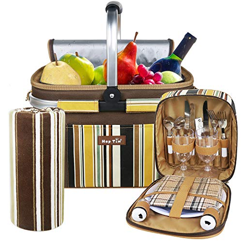 Hap Tim Picnic Basket Set for 2 Persons with Roomy Insulated Cooler Bag/Compartment + Free Waterproof Blanket + Cutlery Service Kits,Gift for Boys Girls,Brown (3741)