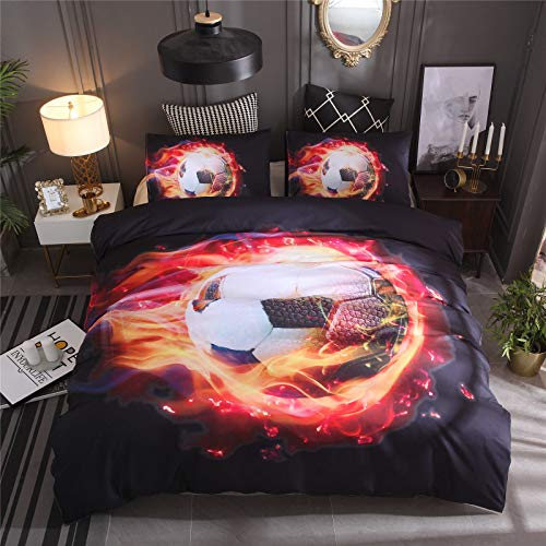 RENXR 3D Printed Football Sport Bedding Set Blue Flame Duvet Cover Set With Pillowcases, Zipper Closure, Soft Microfiber Quilt Cover,Full