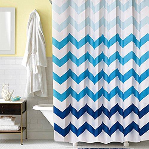 GreeSuit Tejido Cortina de Ducha Liner Baño Decorativo Poliéster Impermeable con 12 Ganchos Resistente al Moho Máquina Lavable 180cm x 180cm (Ondas Azules)