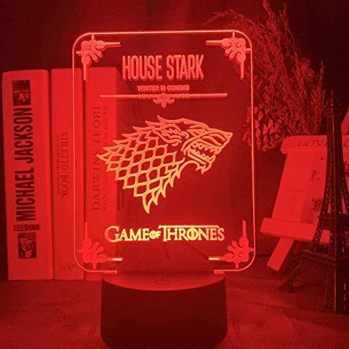 ADIS Lámpara de ilusión 3D Luz de Noche Led Juego de Tronos House of Stark Logo Sensor táctil Cambio de Color para Oficina Dormitorio Decoración Lámpara de Mesa