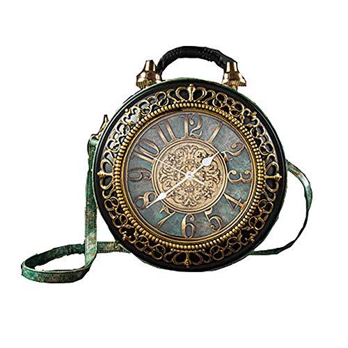 PU-Leder-Handtaschen Mode echte Uhr Schultertasche Casual Frauen Abend Crossbody Taschen Retro Vintage Steampunk Damen Messenger Bag für Frauen Mädchen