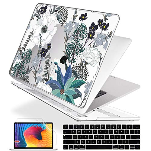Mektron Laptop Case for MacBook Pro 13 inch A2159/A1989/A1706/A1708 Touch Bar (2016-2019 Version) Plastic Hard Shell Cover with Keyboard Cover & Screen Protector, Retro Florals